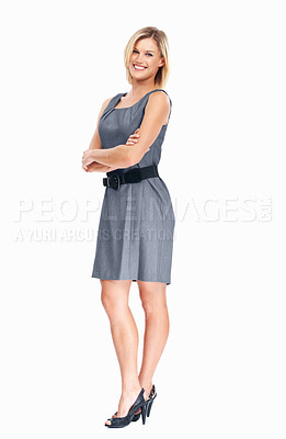 Buy stock photo Full length of young Caucasian business woman smiling on white background