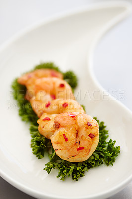 Buy stock photo Closeup of a prawn appetizer on a bed of parsley