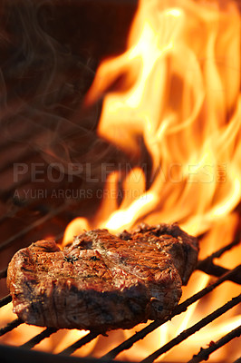 Buy stock photo Closeup of a tasty steak cooking on a fire