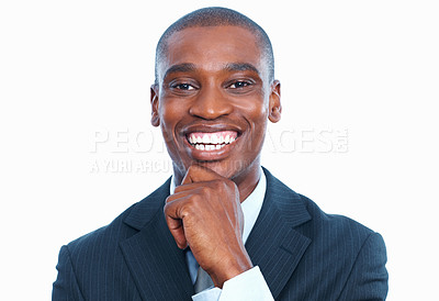 Buy stock photo Closeup of happy African American business man laughing over white background