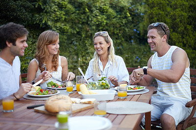Buy stock photo Positive young people having lunch together - portrait