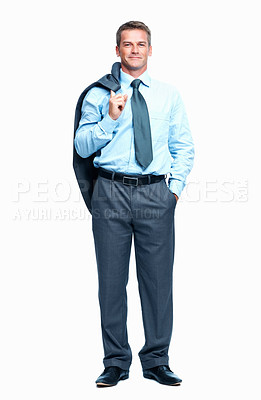 Buy stock photo Full length of relaxed middle aged business man with coat over shoulder on white background