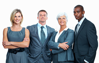 Buy stock photo Portrait of multi ethnic business team standing with confidence on white background