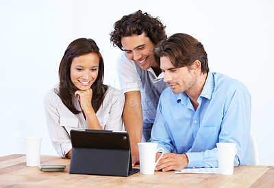 Buy stock photo Three entrepreneurs holding a conference call with a laptop