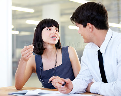 Buy stock photo Two business colleagues working together