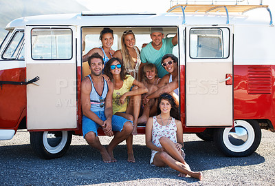 Buy stock photo Mini van fulled with friends enjoying a summer vacation