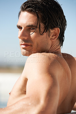 Buy stock photo Portrait of a sexy young man with his shirt off