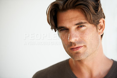 Buy stock photo Portrait of a handsome young man with copyspace