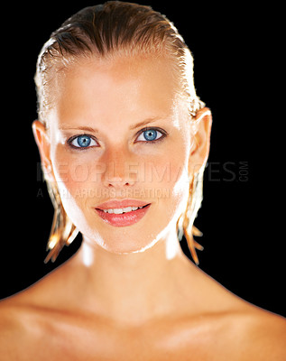 Buy stock photo Closeup portrait of a stunning young woman isolated on black after her shower