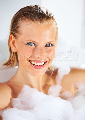 Buy stock photo Closeup portrait of a gorgeous young woman in her bubble bath