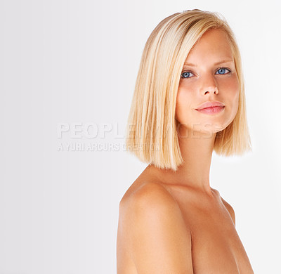 Buy stock photo Portrait of a gorgeous blond woman isolated on white - Copyspace