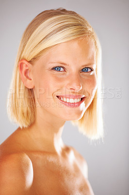 Buy stock photo Portrait of a chuffed young woman with a gorgeous smile
