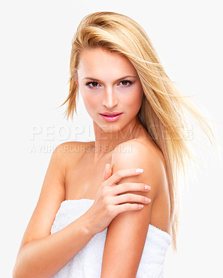 Buy stock photo Portrait of a beautiful blonde woman with flawless skin looking shower-fresh gazing at you; isolated on white