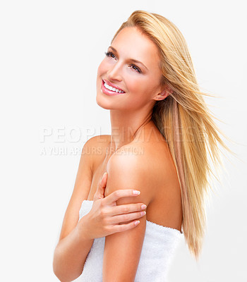 Buy stock photo Naturally beautiful blonde woman with flawless skin looking shower-fresh gazing upwards, isolated on white
