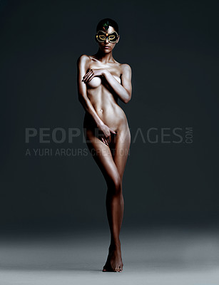 Buy stock photo Majestic nude woman in a mask while isolated on grey