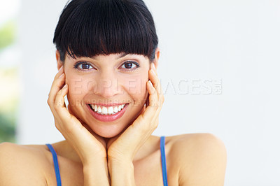 Buy stock photo Gorgeous young woman with a pretty smile - portrait