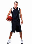 Happy young boy holding basket ball