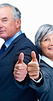 Business executives showing thumbs up sign