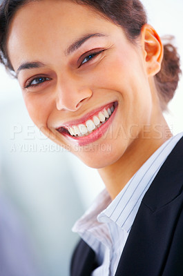 Buy stock photo Closeup of a laughing business woman at a meeting