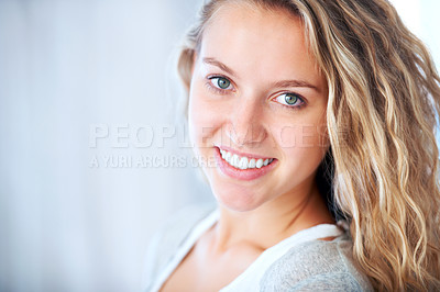 Buy stock photo A striking young blonde feeling free and relaxed - Copyspace