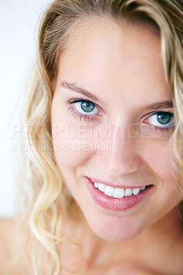 Buy stock photo Closeup portrait of a ravishing young beauty smiling at you