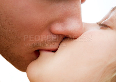 Buy stock photo Closeup of two people kissing