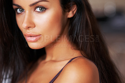 Buy stock photo Portrait of a beautiful young woman in her lingerie