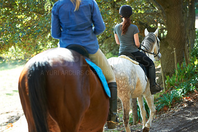 Buy stock photo Rear view of two women starting their horse ride through the woods
