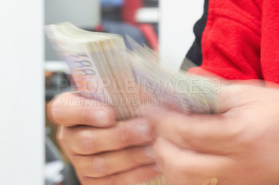 Buy stock photo Cropped shot of a businessman   counting money