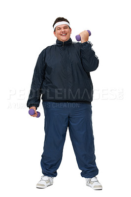 Buy stock photo A happy looking overweight man lifting weights and wearing a tracksuit