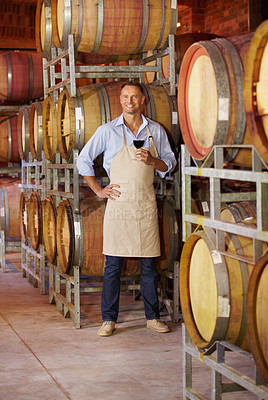 Buy stock photo Portrait of a mature wine maker tasting a glass of red wine while in his cellar