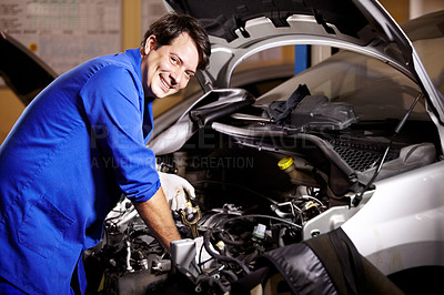 Buy stock photo Portrait of a male mechanic about to check the oil of a car