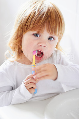 Buy stock photo Portrait of a cute baby brushing her teeth