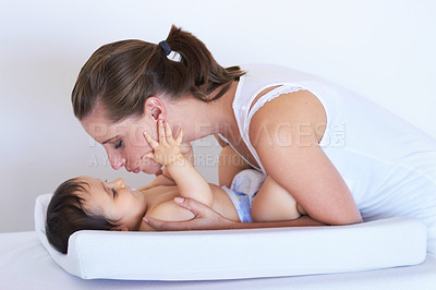 Buy stock photo Shot of a mother and her little baby