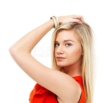 Buy stock photo Cropped image of a gorgeous young blonde isolated against white