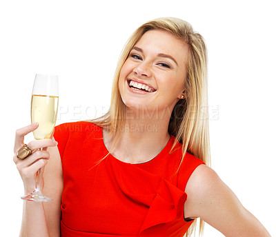 Buy stock photo Portrait of a gorgeous young woman holding a glass of champagne and laughing