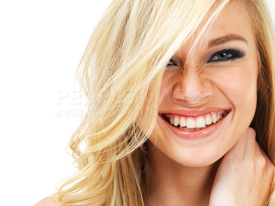 Buy stock photo Portrait of a young blonde woman laughing