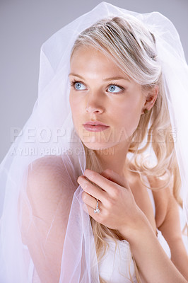 Buy stock photo Closeup shot of a stunning young bride looking to the left