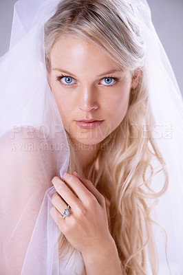 Buy stock photo Closeup portrait of a beautiful young bride wearing a veil and wedding ring