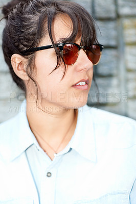 Buy stock photo Trendy young hipster girl looking away