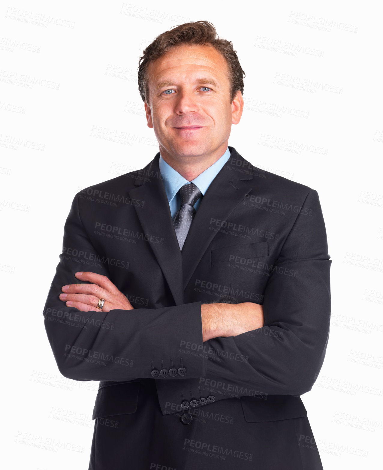Buy stock photo Portrait of a confident mature Caucasian business man with hands folded on white background