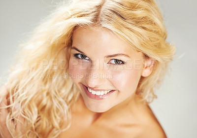 Buy stock photo Closeup portrait of a gorgeous young blonde woman