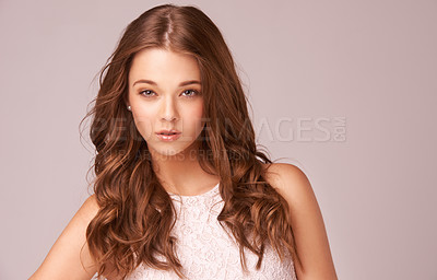Buy stock photo Gorgeous young brunette against a pink background
