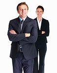 Confident business colleagues standing over white background