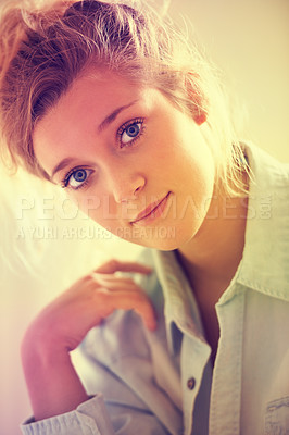 Buy stock photo Portrait of an attractive young girl wearing a shirt