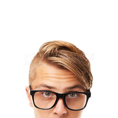 Buy stock photo Cropped portrait of a young man's upper face at the bottom of the frame with copyspace