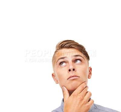Buy stock photo Studio headshot of a thoughtful young man isolated on white with copyspace