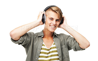 Buy stock photo Cropped shot of a young man listening to music