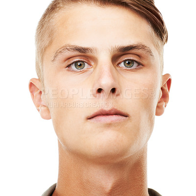 Buy stock photo A closeup portrait of a serious looking young man isolated on white