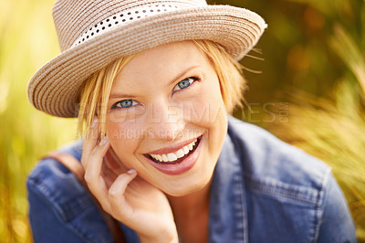 Buy stock photo Portrait of an attractive young woman